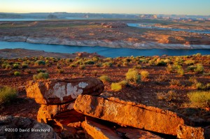 HDR image of Lake Powell at twilight.