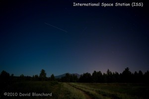 ISS descending in the northern sky with the Kachina Peaks in the distance.