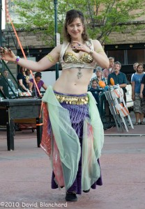 Outdoor performance of The Gypsy Chicks in Heritage Square during Flagstaff First Friday Art Walk.