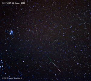 Perseid meteor passes by the constellation Pleiades.