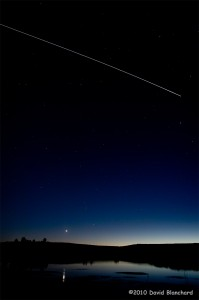 Twilight transit of the International Space Station (ISS).