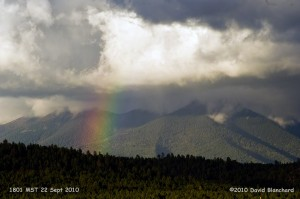 Rainbow over the San Francisco Peaks.
