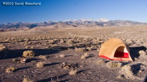 High desert camping in Nevada with early morning light on the White Mountains to our west