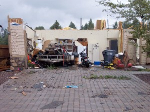 Damages homes from the Bellemont, Arizona, tornadoes on October 6, 2010.