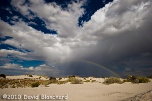 Rainbow over White Sands National Monument.