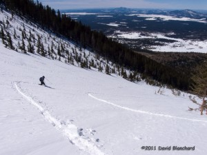 First downhill run on the slopes in the Kachina Peaks Wilderness.