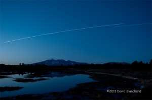 ISS and STS-133 transiting the northern sky above the San Francisco Peaks.