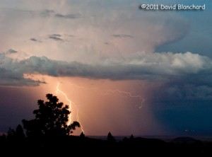 Lightning over the Painted Desert of northern Arizona.