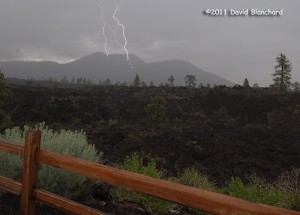 Lightning in Sunset Crater National Monument.