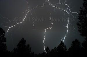 Lightning near Flagstaff, Arizona. Settings: 1/4 second, f/8.0, ISO200, 28 mm lens.
