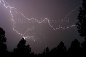 Lightning near Flagstaff, Arizona. Settings: 1/8 second, f/11, ISO200, 28 mm lens.
