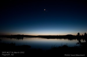 The Moon, Venus, and Jupiter in the twilight sky over the Kachina Wetlands.