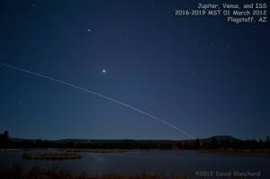 Conjunction of Jupiter, Venus, and the ISS over the Kachina Wetlands near Flagstaff, Arizona.