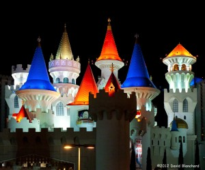 The night lights at the Excalibur resort in Las Vegas.