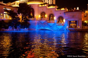 Blue reflections in the pool at the Bellagio Resort.