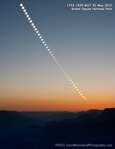 Composite image of the annular eclipse seen over Grand Canyon National Park.