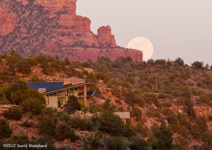 Moonrise over Oak Creek, Sedona, Arizona.