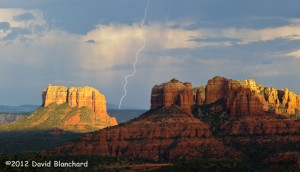 Late afternoon light and lightning at Cathedral Rock, Sedona, Arizona.