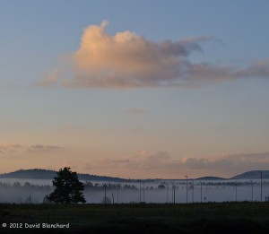 Early morning fog creeping down the hillside.