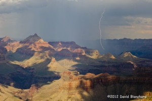 Early afternoon lightning over the Grand Canyon.