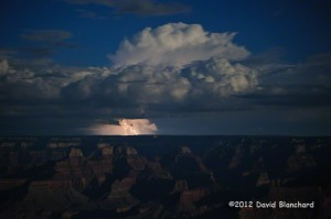 Evening lightning over the Grand Canyon from Grandview Point.