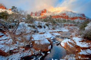 Morning light illuminates the red rock walls of Oak Creek Canyon above Slide Rock State Park. (HDR image)