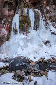 Wall of ice in West Fork Oak Creek.