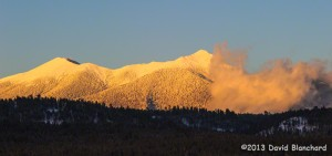 Sunset glow on the Kachina Peaks.