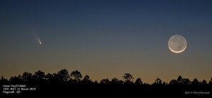 Comet PanSTARRS and the Moon.