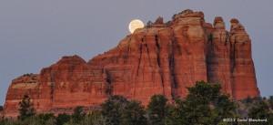 Moon setting behind Cathedral Rock, Sedona, Arizona.