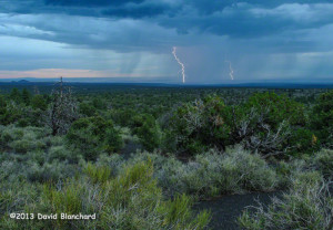 Double flash of lightning over the Painted Desert of northern Arizona.
