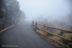 Fog at Yavapai Point, South Rim, Grand Canyon National Park.