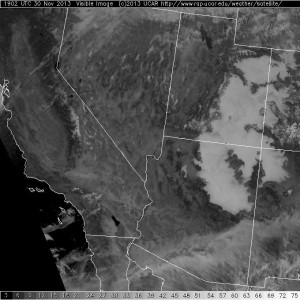 Visible satellite image showing widespread areas of fog across the west.