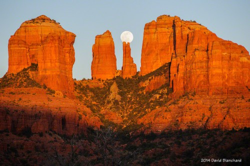 Moonrise behind Cathedral Rock.