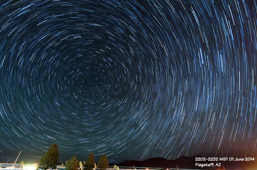 Star trails with the International Space Station.