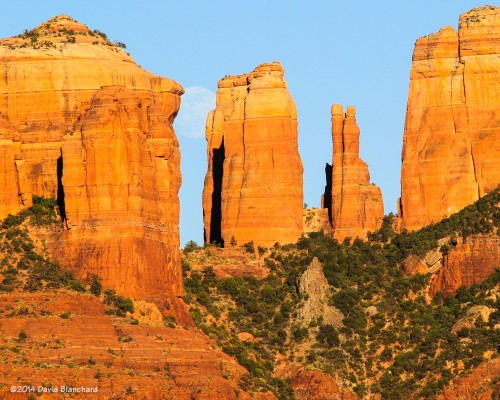 Moon rise behind Cathedral Rock—1st location.
