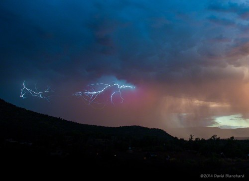 "Lightning (""anvil crawlers"")  after sunset."