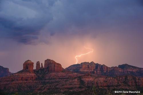 Lightning flash #3 beyond Cathedral Rock.