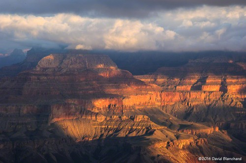 Sunrise light on the cliffs of the North Rim.