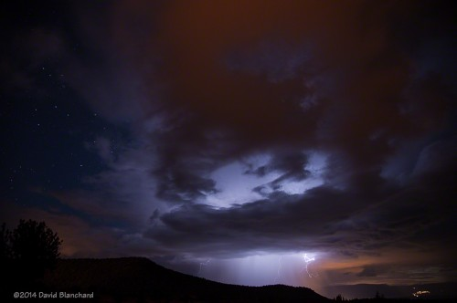 Lightning and sunset colors over the Verde Valley.