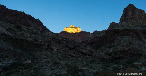 First light high on the canyon walls.