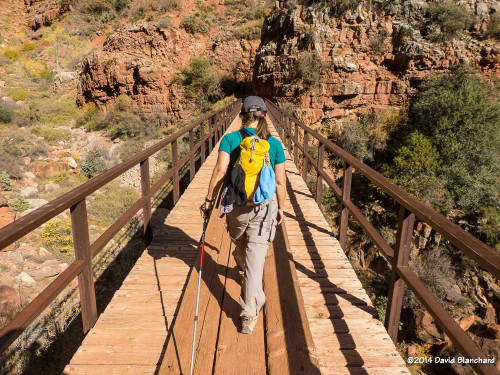 Supai Bridge on the North Kaibab Trail in Roaring Springs Canyon.