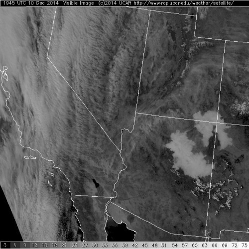 Visible satellite image showing extensive areas of fog across northern Arizona.
