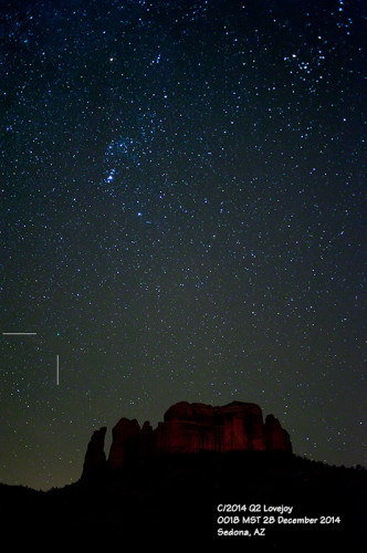 Comet C/2014 Q2 Lovejoy and Orion above Cathedral Rock, Sedona, Arizona: 28 December 2014
