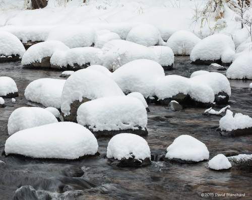 Pillows of snow covers the rocks in Oak Creek.