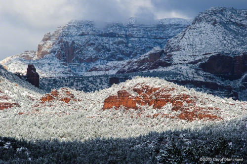 Snow decorates the red rock in Sedona, Arizona.
