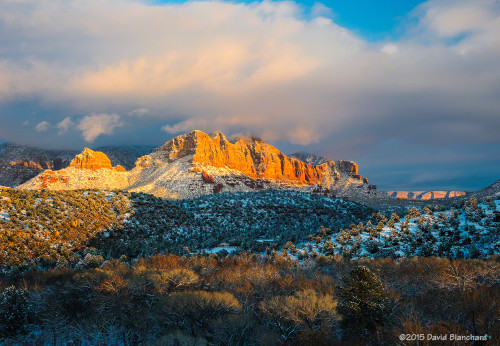 Sunset colors splash across the tree tops, red rocks, and snow in Sedona, Arizona.
