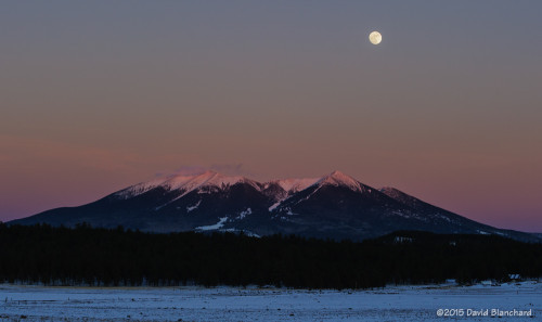 Moonrise behind the Kachina Peaks along with Earth Shadow and Belt of Venus.