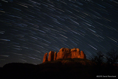 Star trails above Cathedral Rock, Sedona, Arizona.