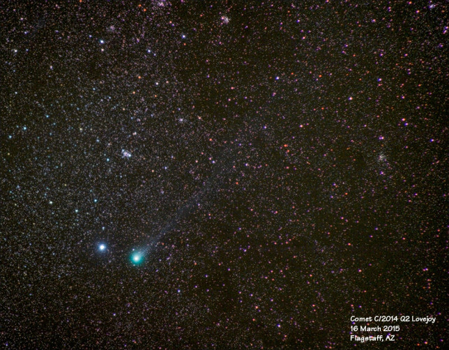 Comet C/2014 Q2 Lovejoy on 03/16/2015. A faint tail can be seen extending to the upper right.